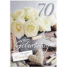 A4 XXL Geburtstagskarte Damen zum 70. Weiße Rosen Landhausstil