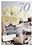 A4 XXL Geburtstagskarte Damen zum 70.: Weiße Rosen Landhausstil