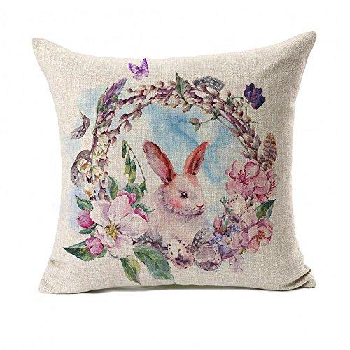 (Watercolor Spring Happy Ostern Kranz Kaninchen Überwurf Kissenbezug Kissen Fall 45,7x 45,7cm Baumwolle/Leinen Home Decor)