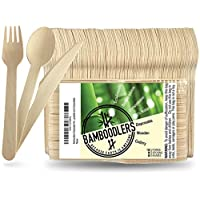 Disposable Wooden Cutlery set by Bamboodlers | 100% All-Natural, Eco-Friendly, Biodegradable, and Compostable - Because Earth is Awesome! Pack of 200- 16.5cm utensils (100 forks, 50 spoons, 50 knives)