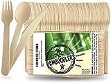 Conjunto de Cubiertos de Madera Desechables de Bamboodlers | 100% Natural, Ecológico, Biodegradable y Compostable - ¡Porque la Tierra es Asombrosa! (100 tenedores, 50 cucharas, 50 cuchillos)