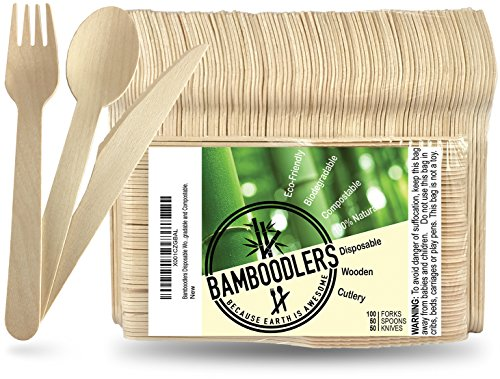 Bamboodlers Einwegbesteck Set aus Holz | 100% Natürlich, Umweltfreundlich, Biologisch abbaubar und Kompostierbar -Der Umwelt zuliebe! - 200er Pack, 16,5cm Besteck (100 Gabeln, 50 Löffel, 50 Messer) -