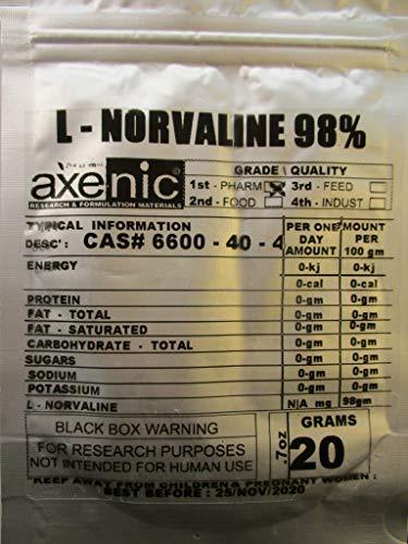 20 grams L-NORVALINE POWDER, PEPTIDE, BCAA, -