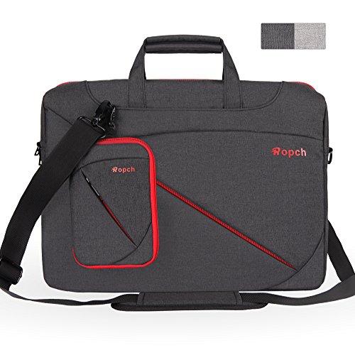 Ropch 17 17,3 Zoll Notebooktasche Umhängetasche Messenger Bag Laptop Tasche Schultertasche Schutzhülle Hülle Sleeve Case - Schwarz (Buch Laptop Taschen)