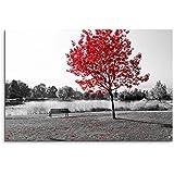 Tela stampata 120 x 80 cm, tela di lino, soggetto: panca e laghetto con albero a foglie rosse, in bianco e nero, formato orizzontale