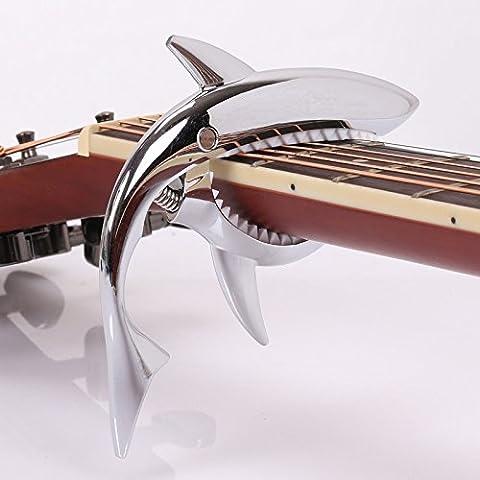 elecguru (TM) elecguru Gitarre Capo Acoustic–Einhändig Shark Capo für Akustik Gitarre quick change Zink Legierung Akustische Gitarre Capo–Shark silberfarben