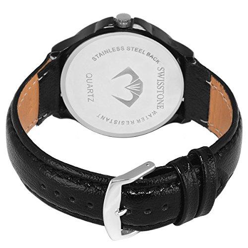 SWISSTONE Analogue White Dial Men's & Boy's Watch (Sw-Blk105-Wht-Blk)