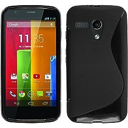PhoneNatic Coque en Silicone Compatible avec Motorola Moto G - S-Style Noir - Cover Cubierta + Films de Protection