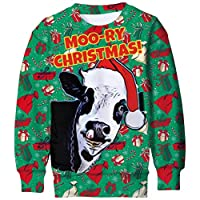 Ugly Christmas Sweaters for Boys 9t 3d Printed Sheep Fleece Pullover 8 Years Girls Funny White Snowflake Graphics Sweatshirts 8t Kids Warm Jacket Children Personalized Round Neck Outfits, Cow Size 8-9
