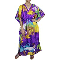 Donne epoca stampa floreale lungo camiciole spiaggia coprire abito caftano indiano