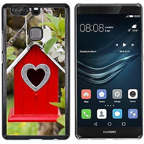 Huawei P9+ Plus (Not for P9) , Cassa Cover Guscio Di Plastica (Albero Fiori ramo Birdhouse