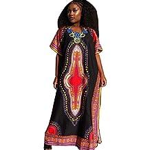 Culater Vestido con estampado manera de las mujeres de África recta ocasional de la impresión del vestido Kaftan
