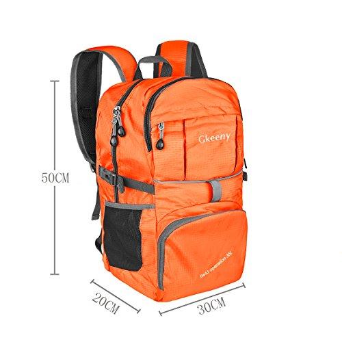 Gkeeny leggero pieghevole zaino 35L escursionismo campeggio all'aperto zaino ultraleggero impermeabile viaggio zaino, Gkeeny Foldable Backpack, Green Orange