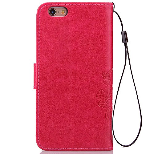 Etsue pour Apple iPhone 6/6S 4.7 Coque,PU Cuir Portefeuille Case Pattern Leather Étui Carte Fentes pour Apple iPhone 6/6S 4.7,Coloré Retro Flip Case Wallet Cover Folio Book Style Magnetic avec Cross G Trèfle quatre feuilles Rose Rouge