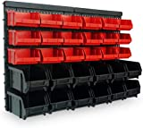 Wall Mount Storage Bin Kit 32 pcs with stackable Boxes - Garage and Warehouse Tools Plastic Storage Rack Board