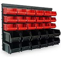 Estantería de bricolaje para pared | 32 Piezas | Organizador de herramientas | Portaherramientas estático para taller | 30 Cajas apilables (12 negras / 18 rojas) | 2 planchas