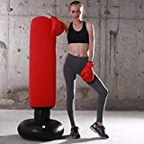 LONEEDY Gonflable autoportant Punching-Ball, Sac Lourd de Formation, Adultes Adolescents Fitness Sport Stress Relief Boxe Cible (Rouge Flocage)