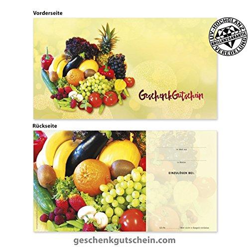 """10 Stk. Gutscheinkarten """"Standard"""" für Obst- und Gemüsehändler OG1202, LIEFERZEIT 2 bis 4 Werktage !"""