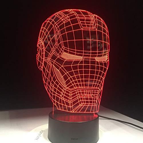 Yddlie Dekor Lampe3D 7 Farben ändern ArtMan MaskeNachtlichtSuperheld Lampe für Kinder Jungen Freunde Geschenke