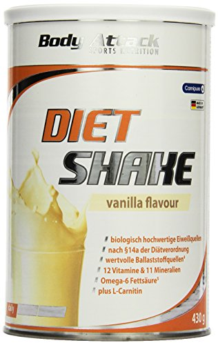 Body Attack Diet Shake, Vanilla, 1er Pack (1x 430g)