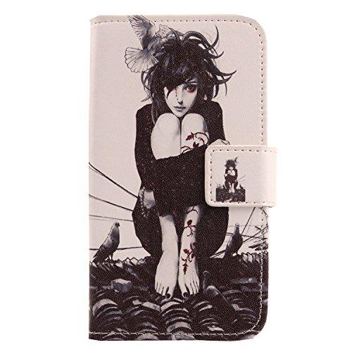 Lankashi PU Flip Leder Tasche Hülle Case Cover Handytasche Schutzhülle Etui Skin Für Homtom S7 (Roof Girl Design)