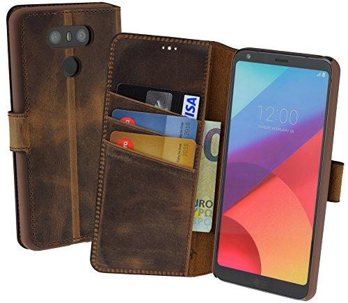 LG G6 | Suncase Book-Style (Slim-Fit) Ledertasche Leder Tasche Handytasche Schutzhülle Case Hülle (mit Standfunktion und Kartenfach) antik coffee