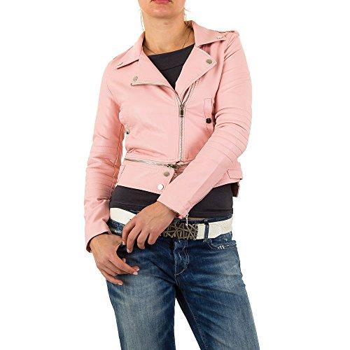 Ital-Design Lederoptik Biker Jacke Für Damen, Rosa In Gr. Xl bei