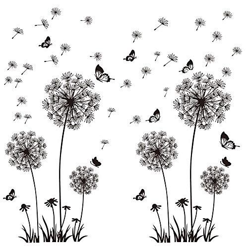 2 Set Wandtattoo Pusteblumen Schwarz 165X130 cm Schmetterlinge Fliegen im Wind Wandsticker Löwenzahn Blumen Wandsticker Pflanzen Aufkleber-Wand-Deko für Wohnzimmer Garderobe Flur Fenster