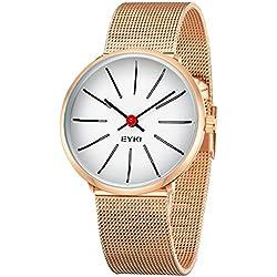 Alienwork Quarz Armbanduhr elegant Quarzuhr Uhr modisch Metall weiss rose gold YH.D5002S-04