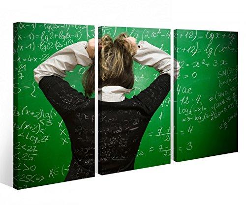 Leinwandbild 3 Tlg Schule Lehrer Mathe Dummheit Weisheit Lehre Tafel Leinwand Bild Bilder fertig gerahmt 9O1017, 3 tlg BxH:120x80cm (3Stk 40x 80cm)