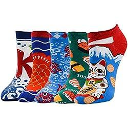 Calcetines Algodón de Diseños Creativos Multicolor Animal Perro Gato Japonés Flamenco Amable Lindo Lunares a Rayas Cómodo Transpirable para Adolescente Mujer Primavera Otoño Invierno (F-5 pares)