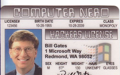 Signs 4 fun 0718557743539 Bill Gates Fun Fake Id License