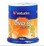 Verbatim 100PK DVD-R 16X 4.7GB 120MIN SUPL SPINDLE LIFE SERIES