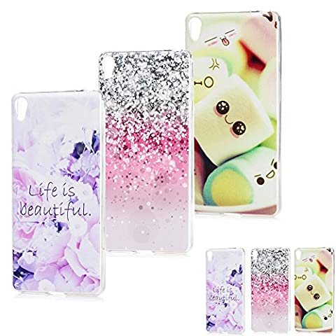 Sony Xperia E5 Case (3 Pack) MAXFE.CO Transparent Slim TPU Silicone Cover Colorful Printed Soft Flexible Anti-Scratch Protective Case For Sony Xperia E5 - Light Spots + Cotton Candy + Roses
