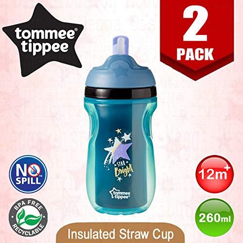 Tommee Tippee - Borraccia termica con cannuccia, senza BPA, 260 ml, con beccuccio morbido e coperchio ribaltabile, per neonati e bambini, a prova di perdite, da 12 mesi in su, confezione da 2