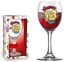 Idea Regalo - BICCHIERE 18 ANNI Calice vetro Gadget stampato idea regalo festa 18° Compleanno