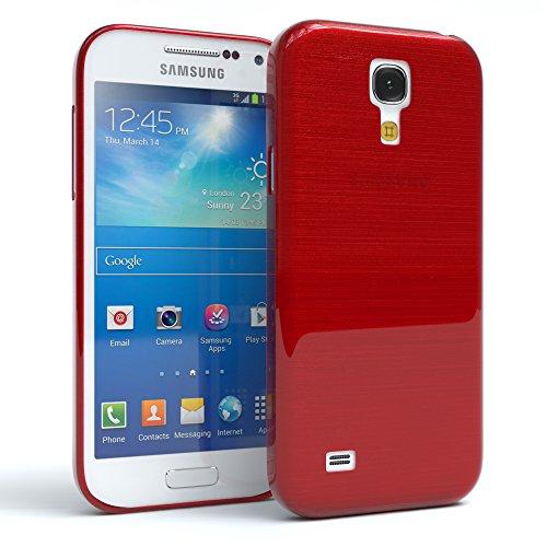 Samsung Galaxy S4 Mini Hülle - EAZY CASE Ultra Slim Cover TPU Handyhülle Matt - dünne Schutzhülle aus Silikon in Grün Brushed Rot