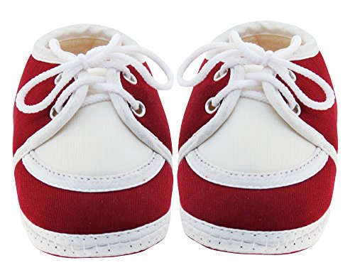 Neska Moda Baby Infant Soft Maroon Booties-12 CM Length For Age Group 6 - 18 Months