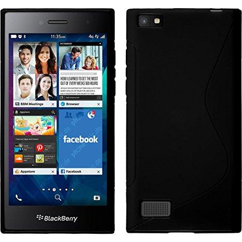 PhoneNatic BlackBerry Leap schwarz Silikon Hülle S-Style mit 2 Schutzfolien