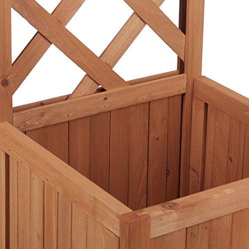Relaxdays Rankkasten Holz, Garten Pflanzkübel m. Rankgitter, 25 L Pflanzkasten, 150 cm Rankhilfe wetterfest, Natur - 3
