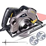 Scie Circulaire, TECCPO Professional 1500W Scie Circulaire avec Laser, 2 Lames Ø185mm (40T&24T), 5800 RPM, Profondeur de Coupe 63mm (90 °), 45mm (45 °) - TACS01P