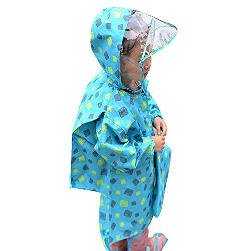 Gagacity Children Kids Waterproof Raincoat Suit with School Bag Place for Boys Girls 1-8 Yeas Old