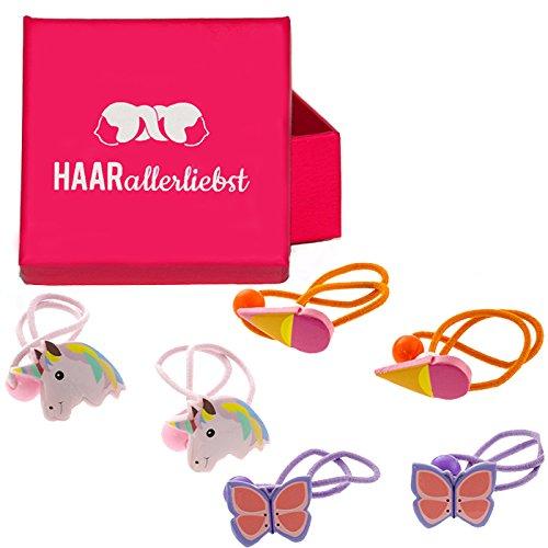 HAARallerliebst Haarschmuck Haargummi Set mit Einhörnern, Eis und Schmetterling für Kinder in...