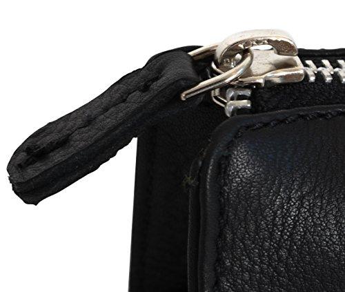 Gusti Leder studio ''William'' porta penne portacolori astuccio università ufficio vintage vera pelle di bufalo unisex nero 2S3-22-9