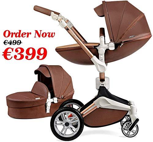 Kombikinderwagen 3 in 1 Funktion mit Buggy und Babywanne 2020 Hot Mom neues Design, Baby Autoschale separate kaufbar - Kaffee Farbe