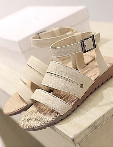 UWSZZ IL Sandali eleganti comfort Scarpe Donna-Sandali-Tempo libero / Formale / Casual-Comoda-Piatto-Finta pelle-Nero / Marrone / Beige Brown