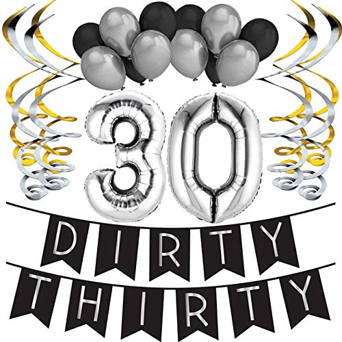 Sterling James Co. Dirty Thirty - 30. Geburtstag Party Set - Schwarz & Silber Happy Birthday Girlande, Poms und Spiralgirlanden - lustiges Geschenk Deko