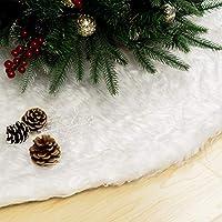 GIGALUMI 120cm Weihnachtsbaumdecke Weiß Plüsch Christmasbaumdecke Rund Tannenbaum-Unterlage Weihnachtsbaumteppich Ornamente Dekoration für Weihnachten