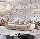 Rureng Custom Photo Wallpaper High Quality Silk Cloth Hand-Painted Flowers and Birds Plain Stereo Large Mural Wall Paper-150X120Cm