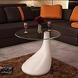 Oakome Couchtisch Wohnzimmertisch Beistelltisch Sofatisch Kaffeetisch Abstelltisch Tablet aus Glas Morden Weiß